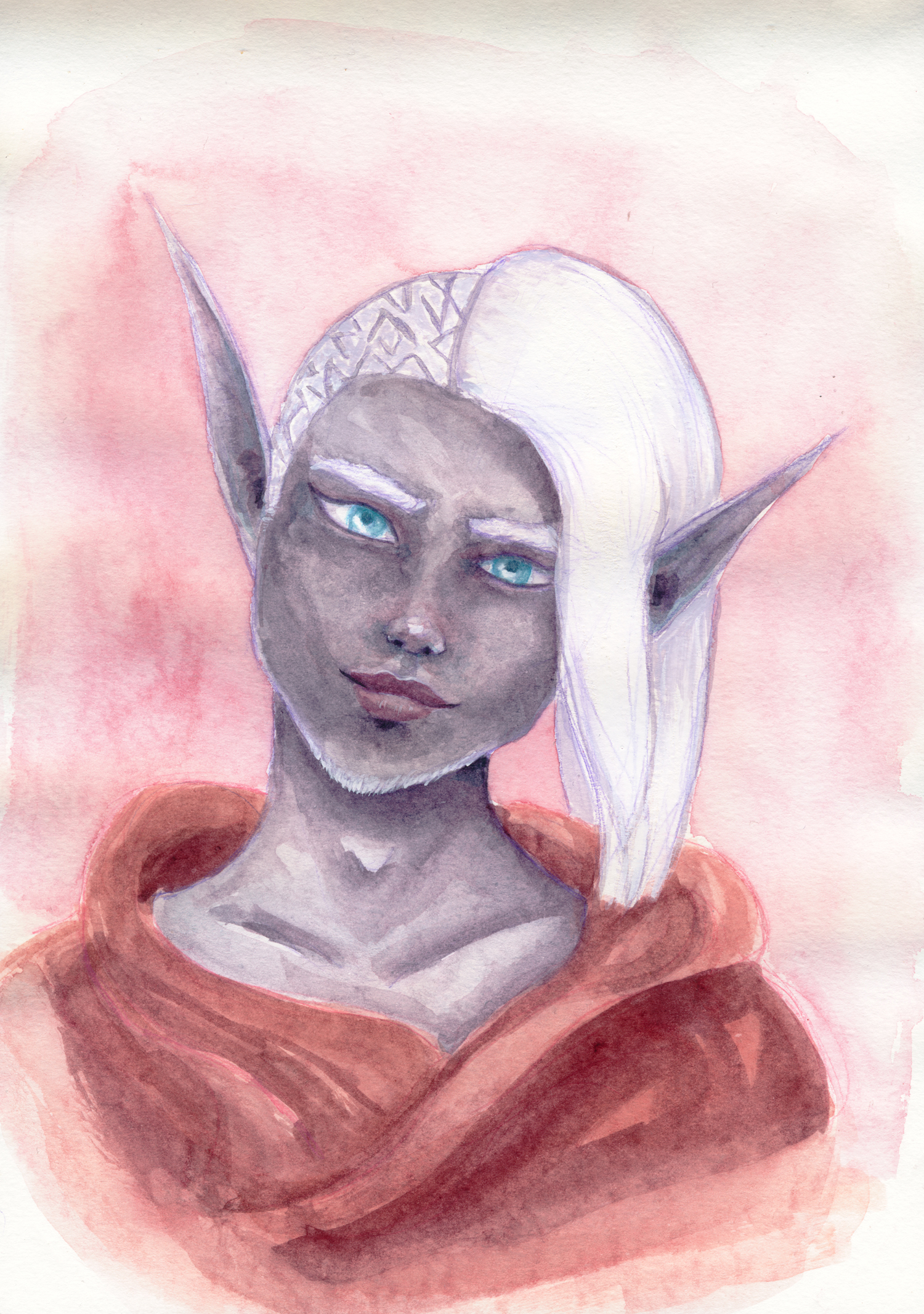 A watercolor portrait of a Drow Elven androgynous man. He has bright blue eyes and a cheeky look.