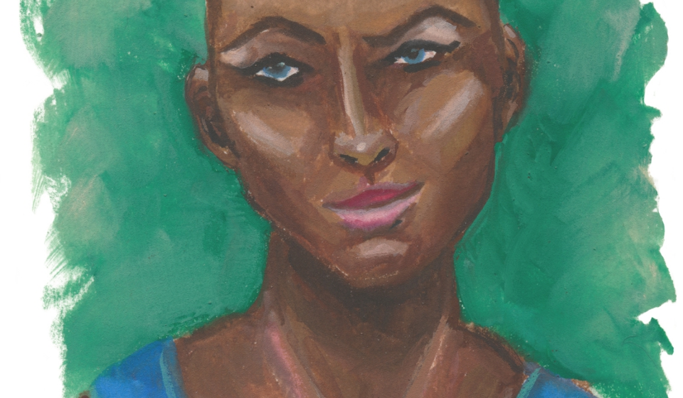A gouache portrait of Beauregard Lionett from Critical Role, she has brown skin, blue eyes, and a lot of attitude.