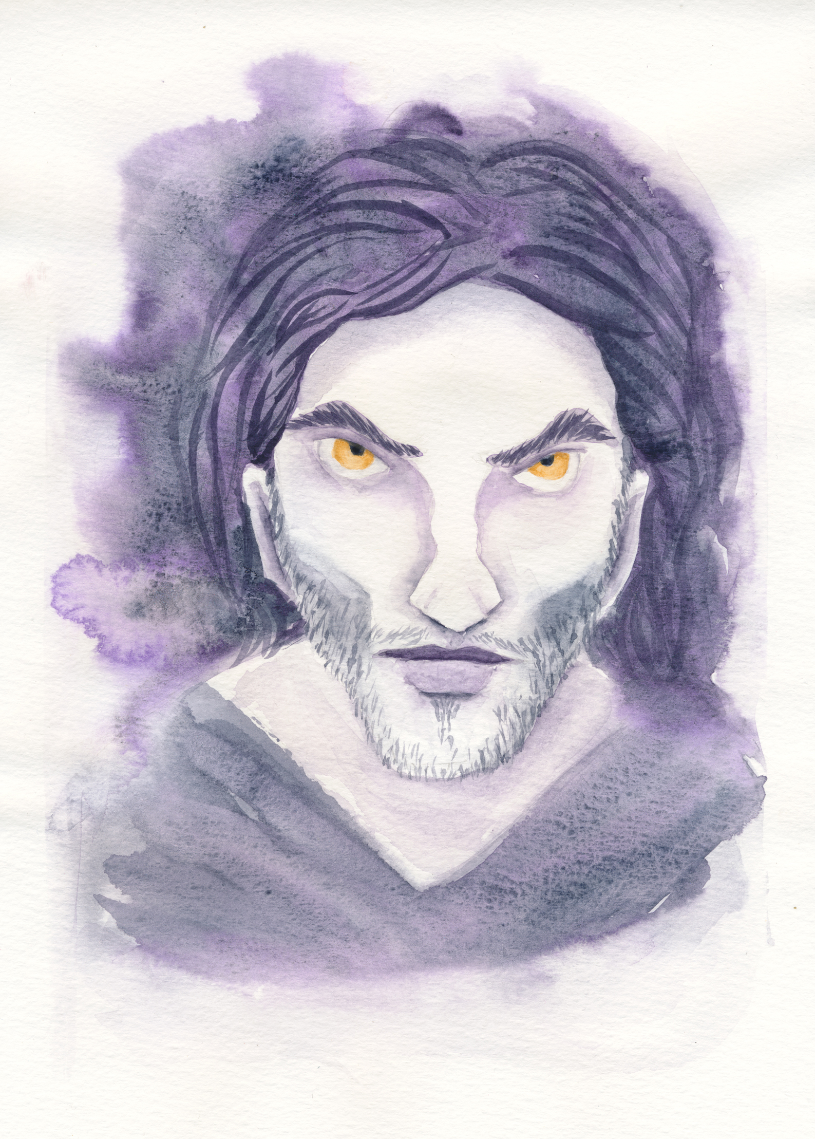 A watercolor portrait of Strahd von Zarovich in purples and blues. His eyes stand out in a golden yellow.
