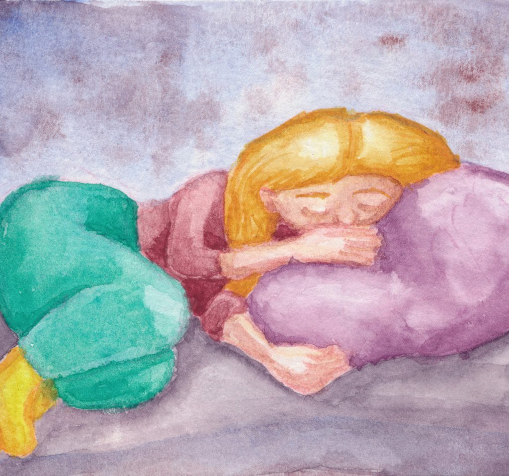 A watercolor illustration of a woman curled up sleeping on a purple pillow in a vague dreamline place.