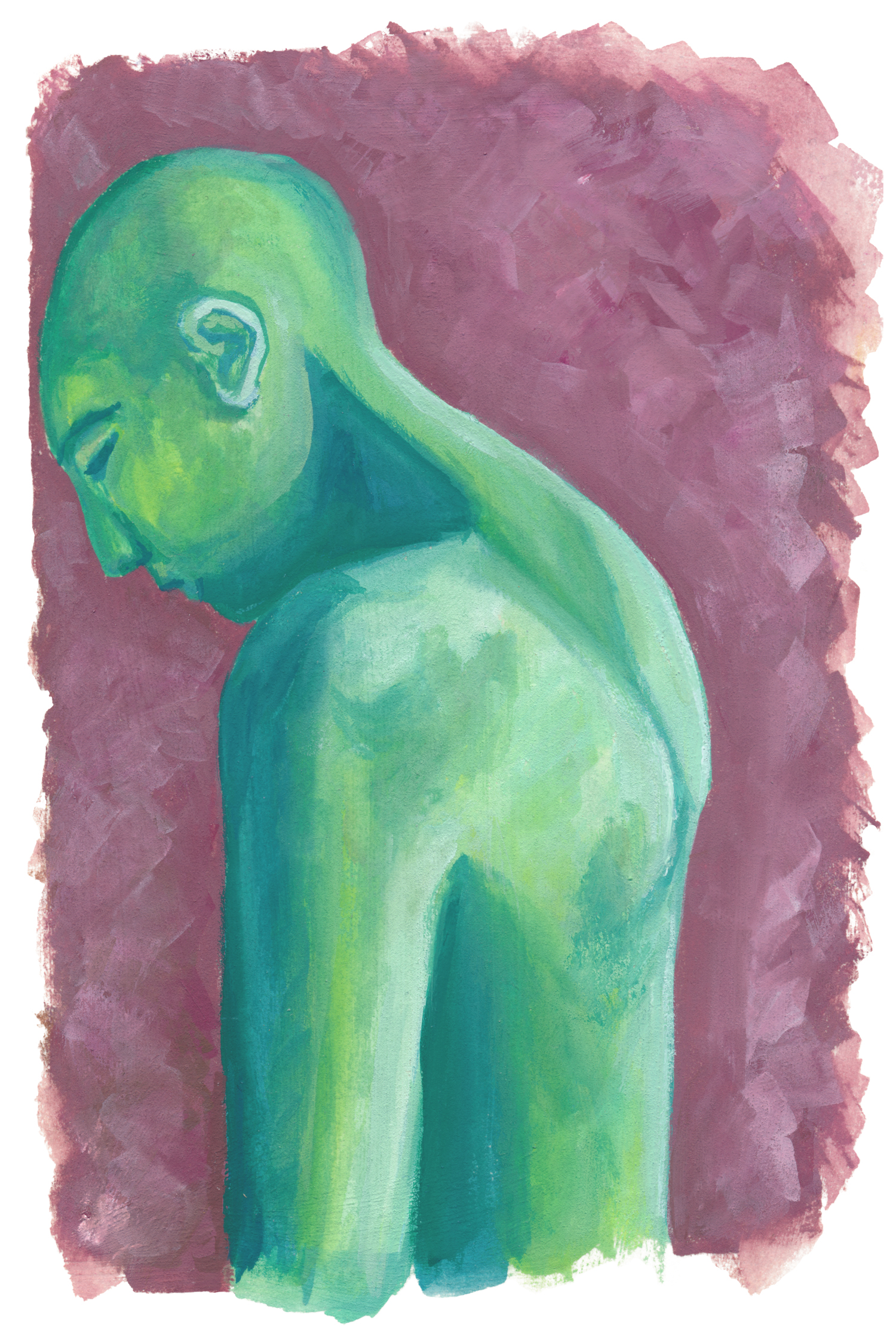 An gouache painting of a green person turned away to the side, peacefully looking down.