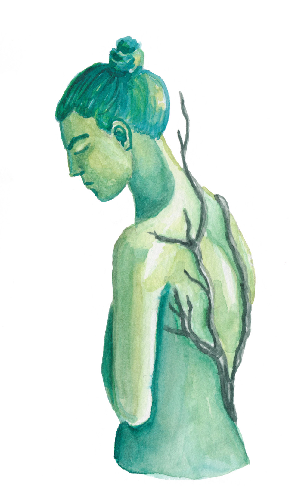 A watercolor painting of a green person with hair in a top knot. They are turned to the side and have their eyes closed. On their back is growing a dark colored vine.