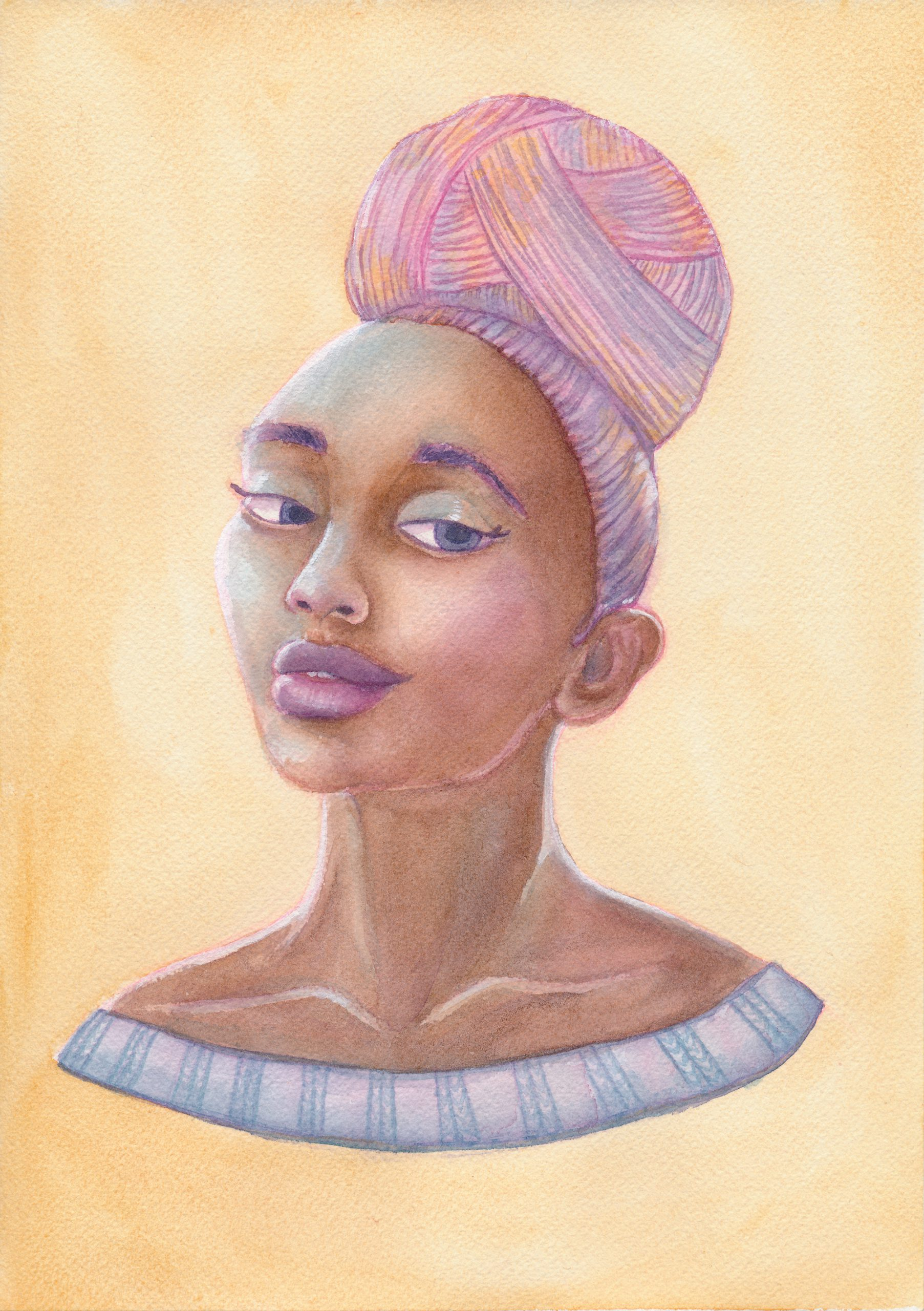 A watercolor painting of a black woman with a pink and purple ball of yarn instead of hair