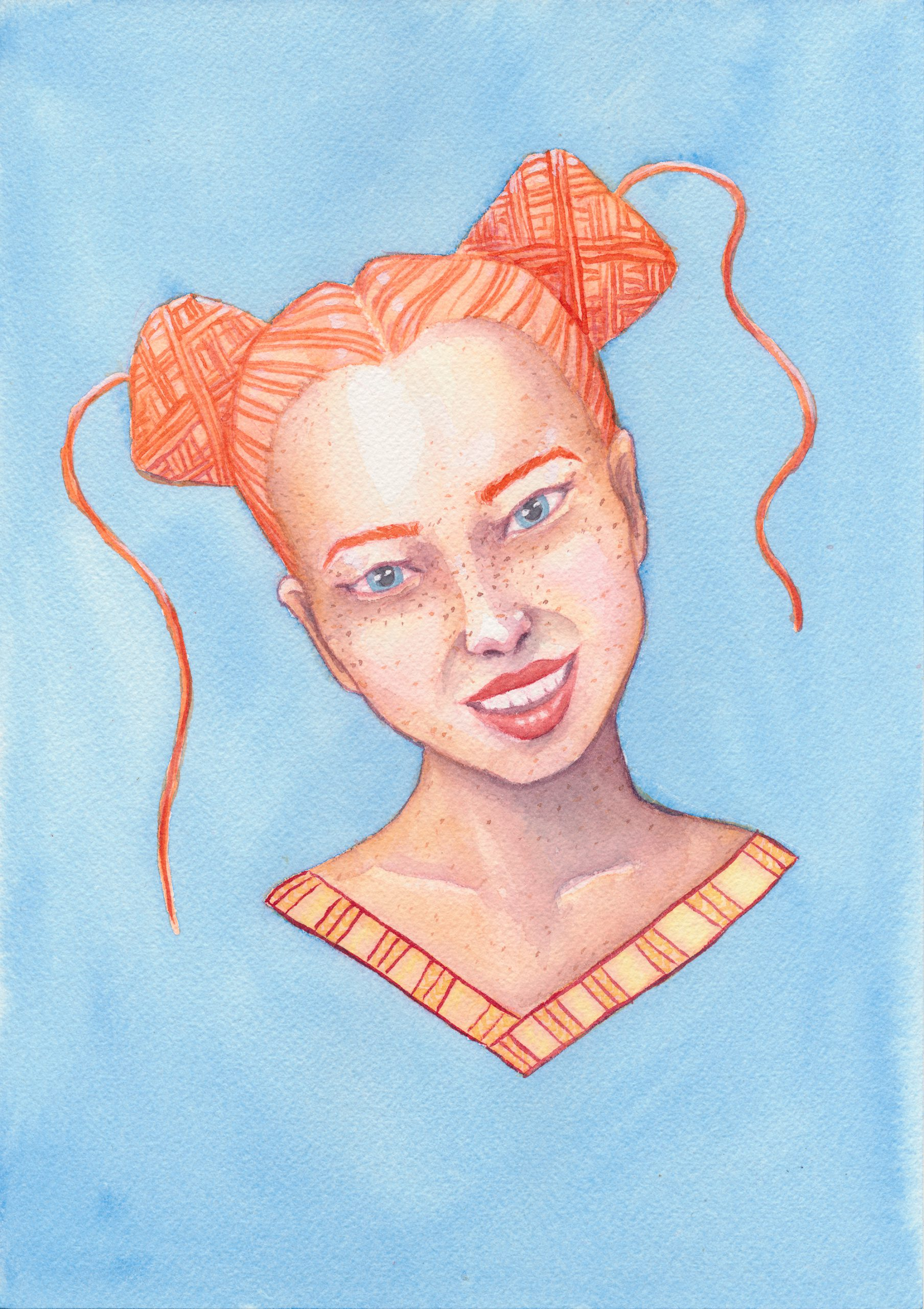 A watercolor painting of a white girl with orange yarn cakes instead of hair