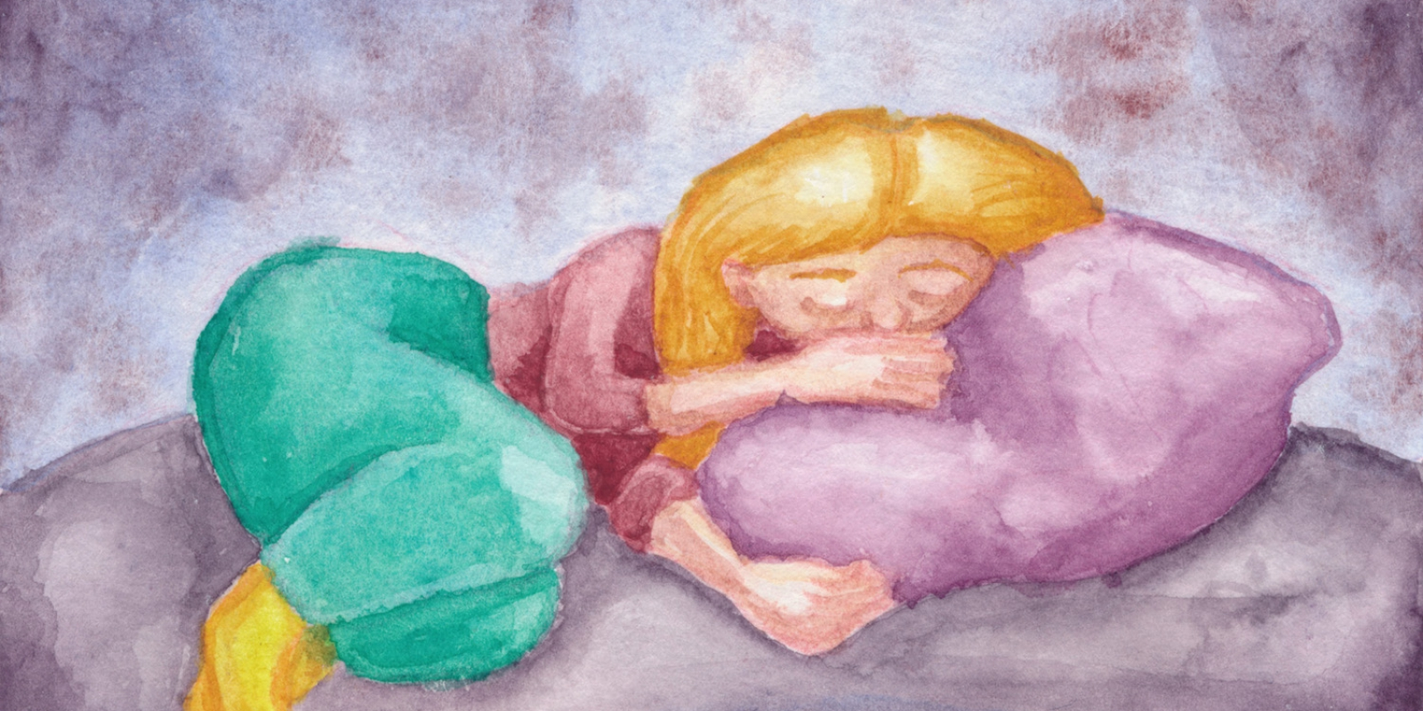 Een aquarel illustratie van een slapende vrouw die opgerold tegen een paars kussen aanligt.