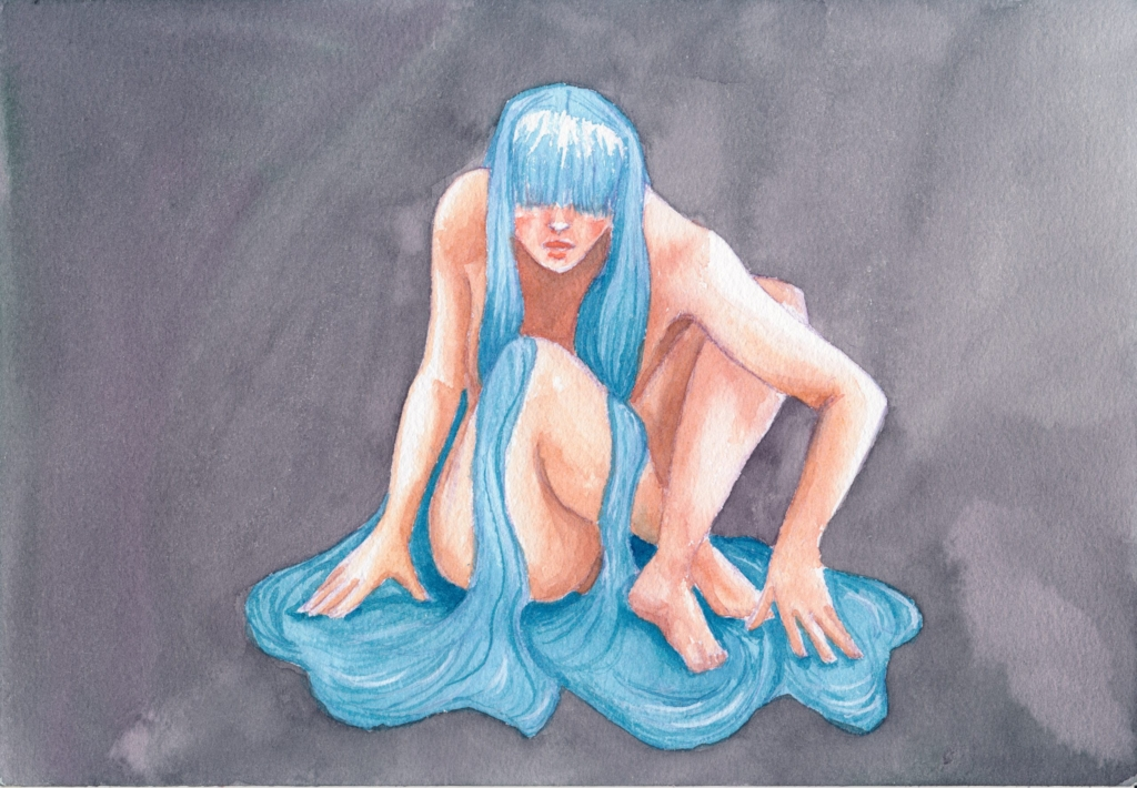 A watercolor painting of a naked woman crouching down, her hair looks like water streaming down over her body and pooling underneath her. Her eyes are covered by bangs.