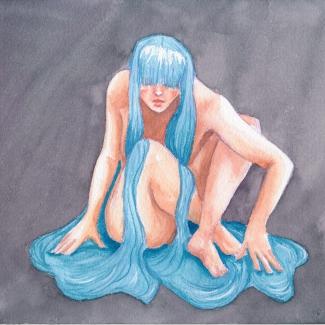 Een aquarel schilderij van een naakte vrouw op haar hurken. Haar als water stroomt langs haar lijf, waar het onder samenkomt in een plas. Haar ogen gaan verscholen achter een pony.