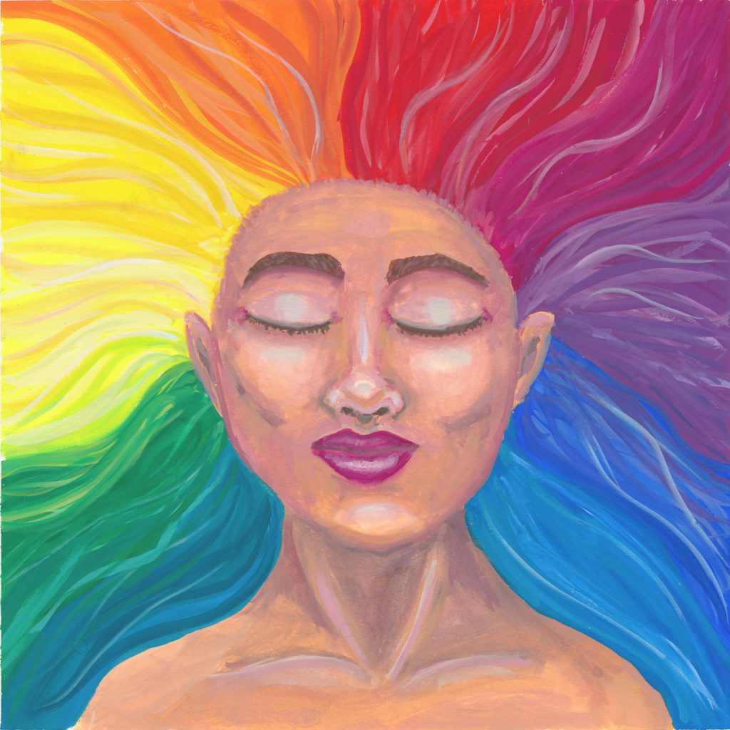 A gouache painting of a calm woman with her eyes closed. Her hair has rainbow colors and streams in all directions away from her head.