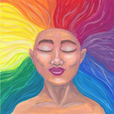 Een gouache schilderij van een kalme vrouw met haar ogen dicht. Haar haar stroomt in regenboogkleuren in alle richtingen van haar hoofd af.