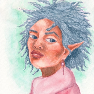 A watercolor portrait of an Elven woman, she has earthtones skin and wild blue hair.