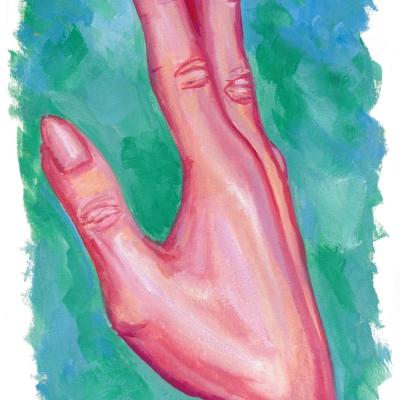 Een gouache schilderij van een hand in rode en roze kleuren. De nagels zijn lang en gepunt, de achtergrond is groen en blauw.