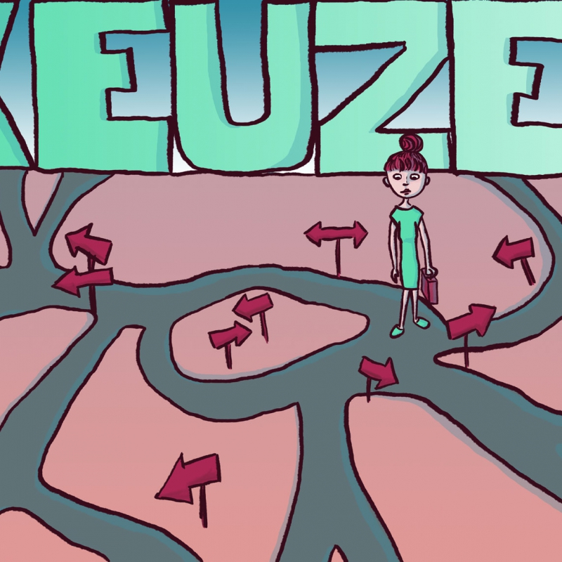 A digital illustration of a young woman who sees all sorts of different paths in front of her, behind her stands a very big word: 'keuzes', Dutch for 'choices'.