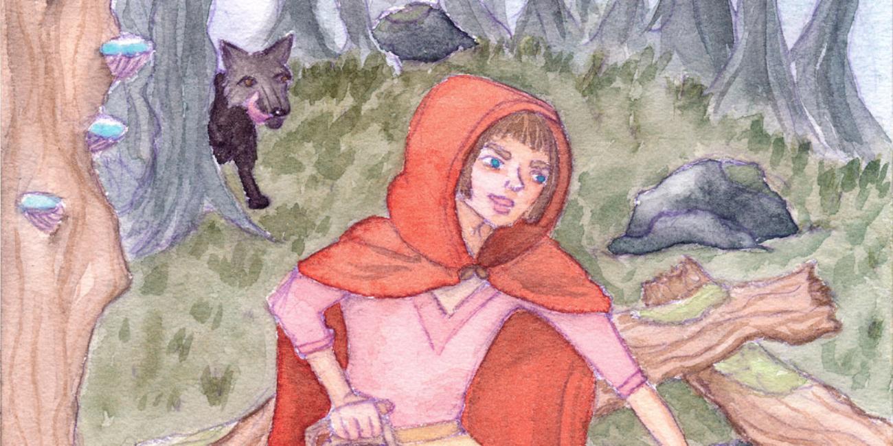 Een aquarel schilderij van Roodkapje die paddestoelen plukt in het bos. Op de achtergrond een likkebaardende zwarte wolf.