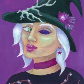 Een gouache portret van een heks met een groen oog en een oogkas vol sterren en ruimte, ze draagt een hoed met bloemen en klimranken erop.