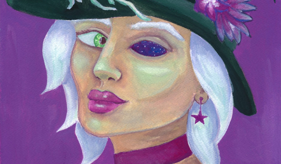 A gouache painting of a witch with one green eye and one eye socket full of stars and space, she's wearing a hat with flowers and vines on it.