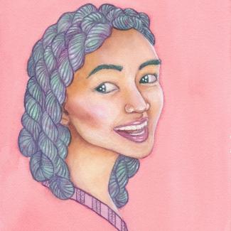Een aquarel schilderij van een aziatische vrouw met groen en paars garen als haar