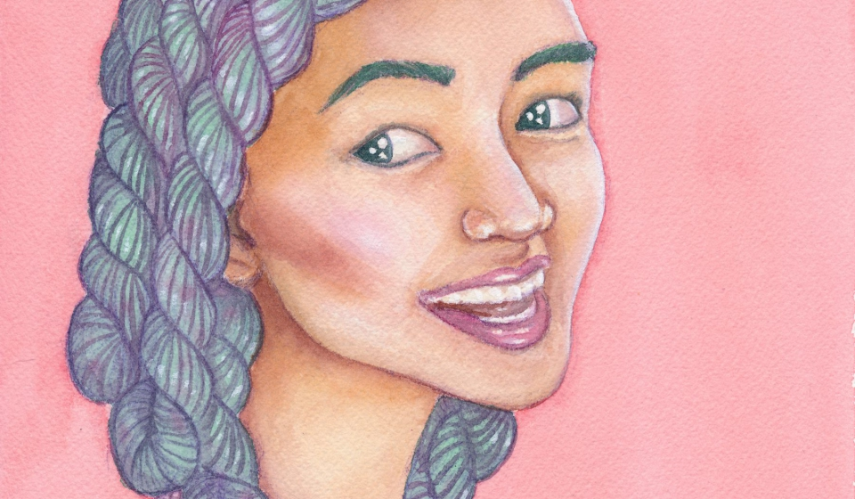 A watercolor painting of an asian woman with green and purple skeins of yarn as hair