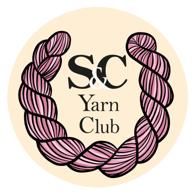 A round image of a logo with a pink skein of yarn like a laurel wreath around the text: S&C Yarn Club