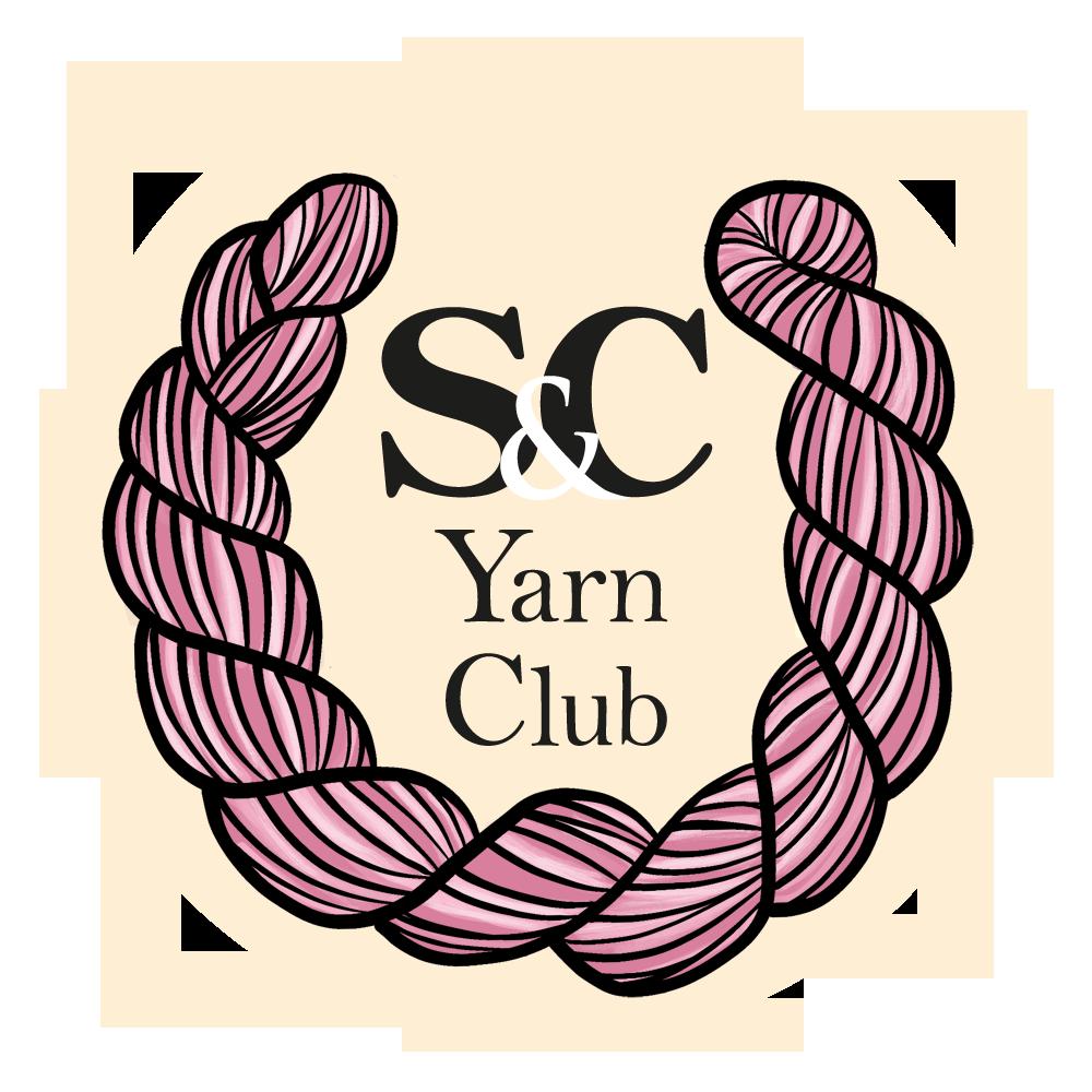 Een rond beeld van een logo met een roze streng wol als een lauwerenkrans rond de tekst: S&C Yarn Club